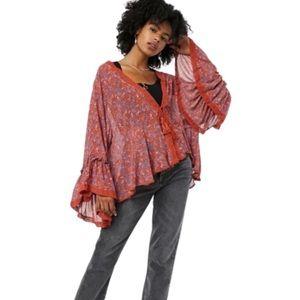Free People Lola Kimono (Wild Red; Large) - NWT